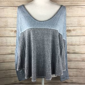 Free People Blue Gray Long Sleeve Top